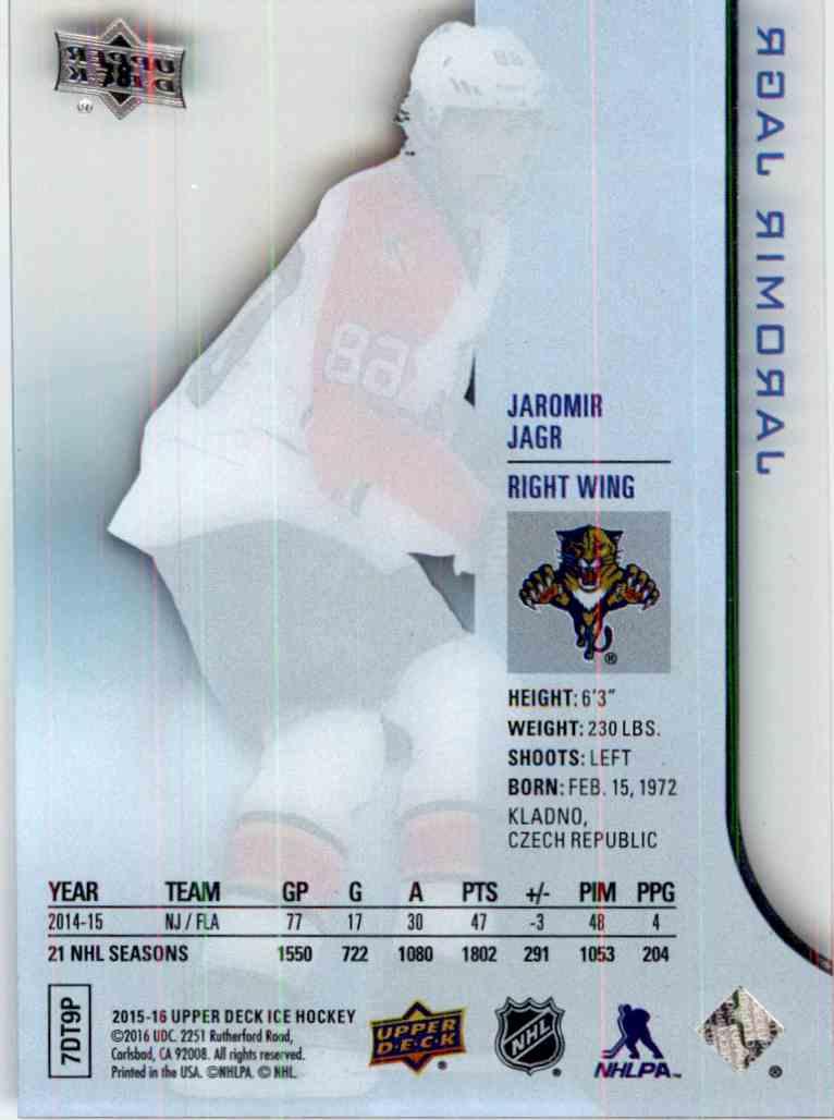 2015-16 Upper Deck Ice Jaromir Jagr #78 card back image