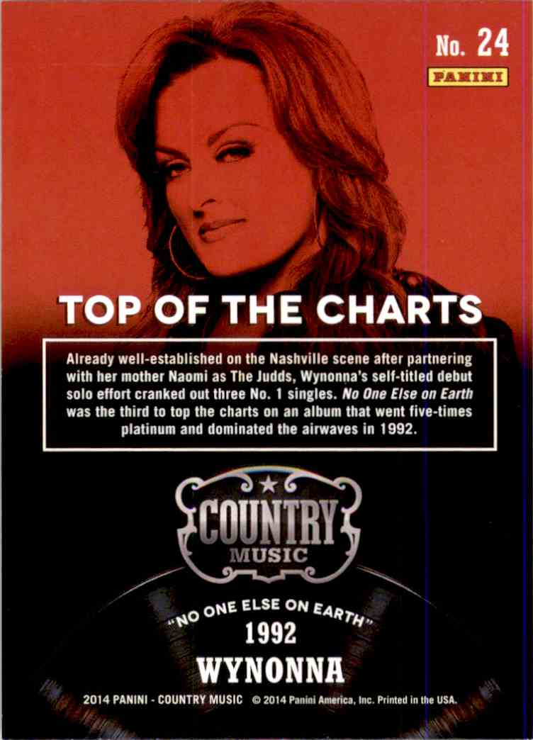 2015 Country Music Top Of The Charts Green Wynonna #24 card back image