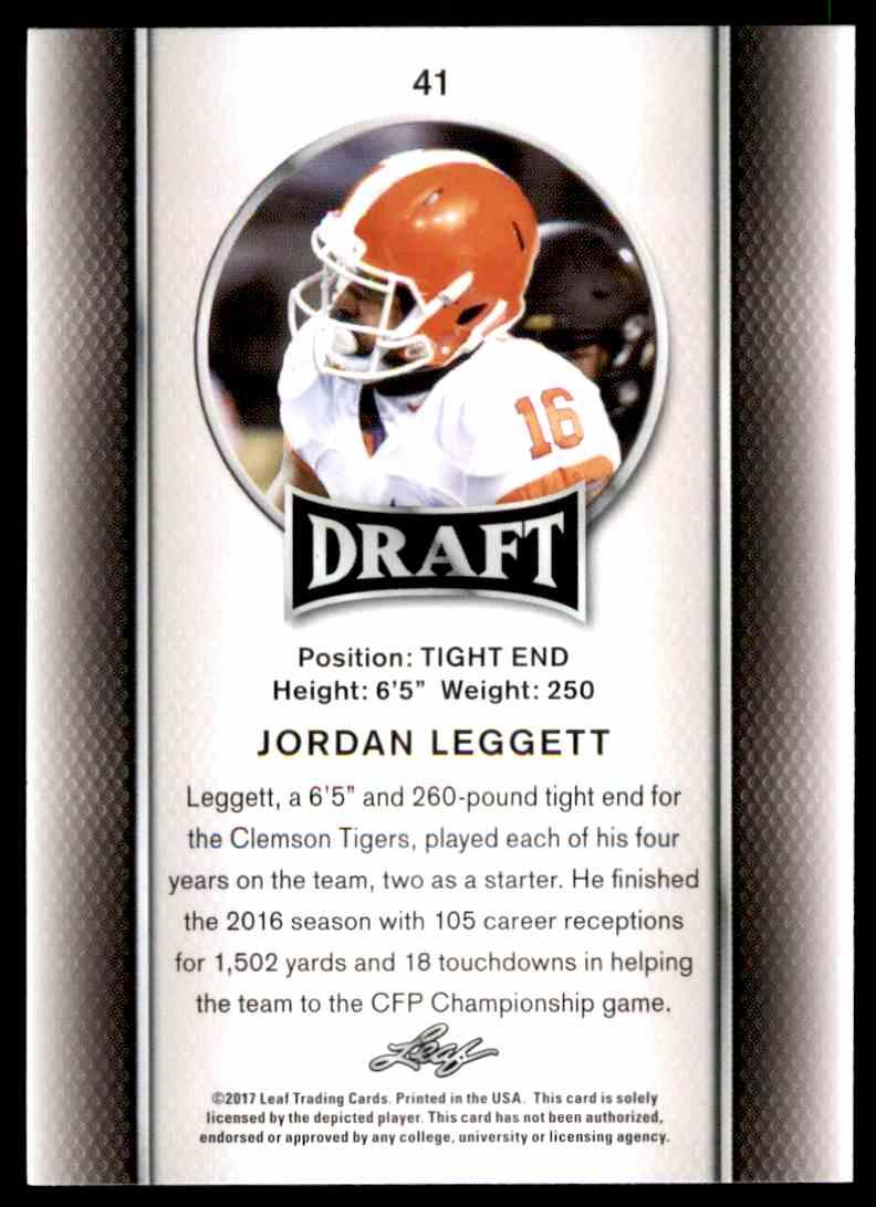 2017 Leaf Draft Jordon Leggett #41 card back image