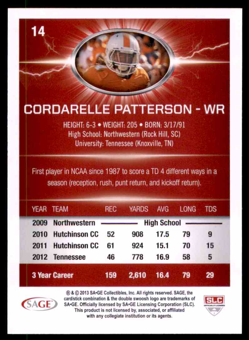 2013 Sage Hit Cordarrelle Patterson #14 card back image
