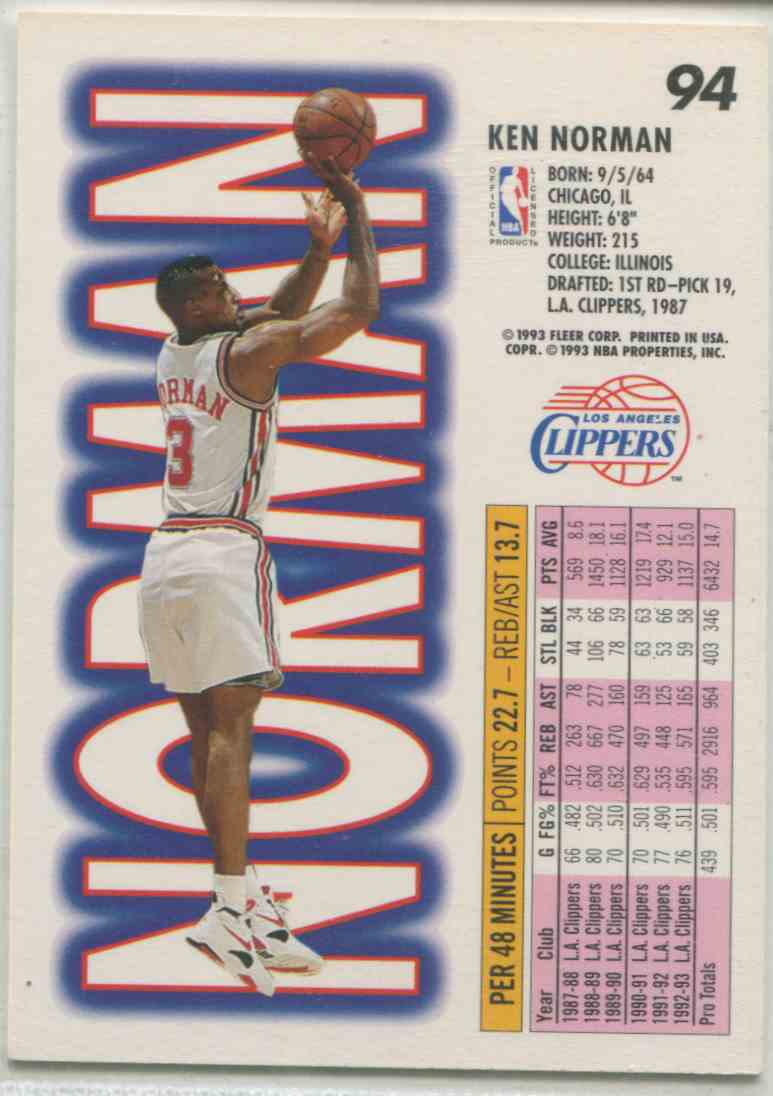 1993 94 Fleer Ken Norman 94 on Kronozio