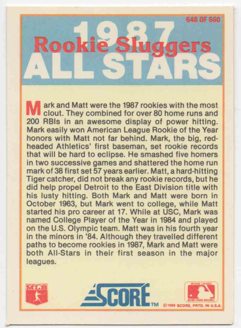 1988 Score Mark Mcgwire Amp Matt Nokes 648 On Kronozio
