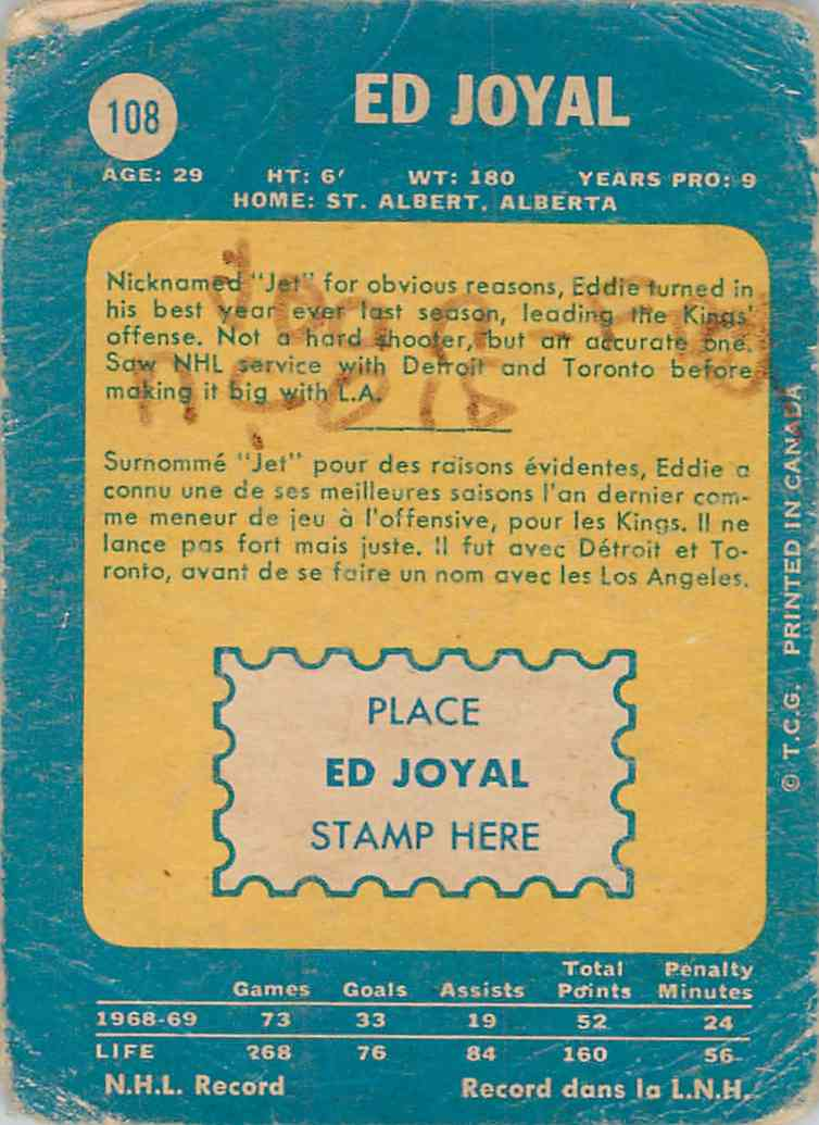 1969-70 O-Pee-Chee Ed Joyal #108 card back image