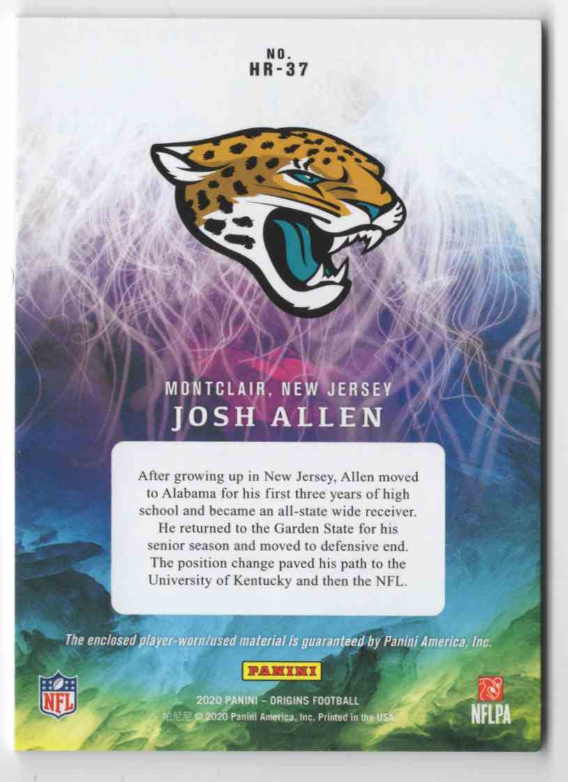 2020 Panini Origins Hometown Roots Jerseys Josh Allen #HR37 card back image