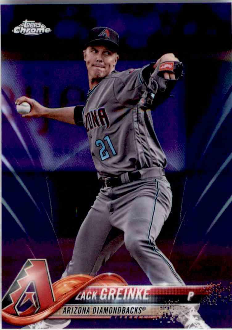 2018 Topps Chrome Purple Refractor Zack Greinke #156 card front image