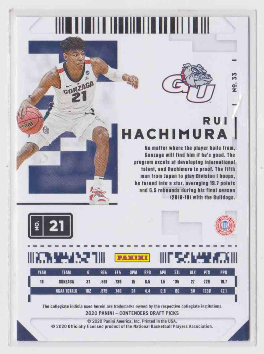 2020-21 Panini Contenders Draft Picks Prospect Ticket Rui Hachimura #33 card back image