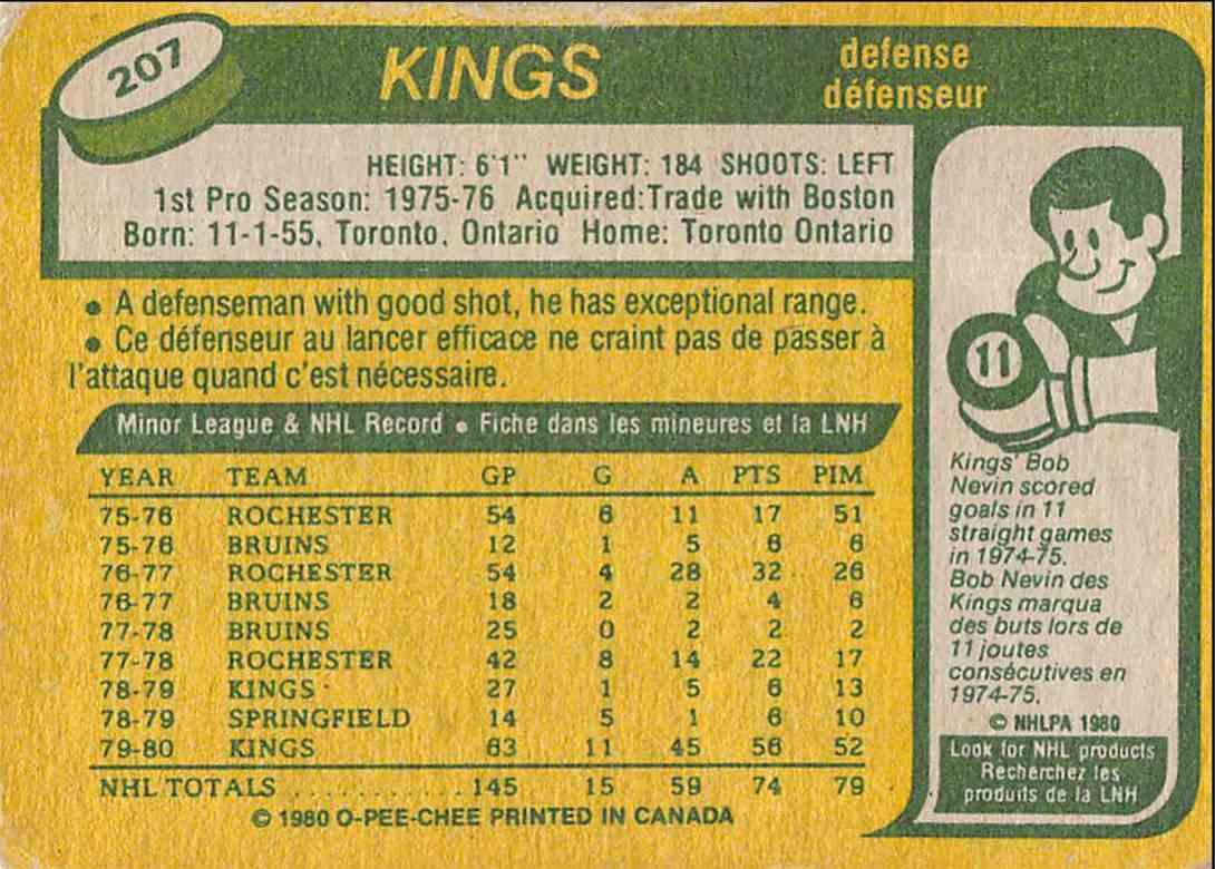 1980-81 O-Pee-Chee Doug Halward #207 card back image