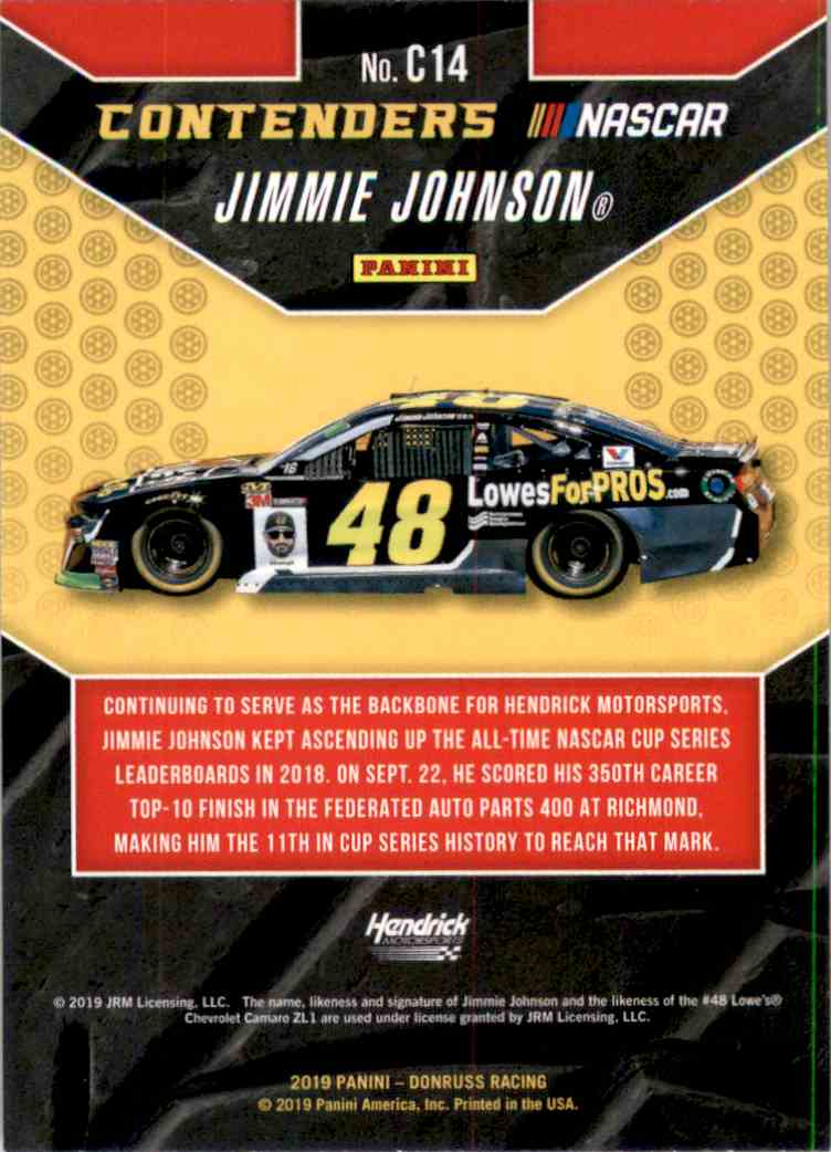 2019 Donruss Contenders Jimmie Johnson #C14 card back image