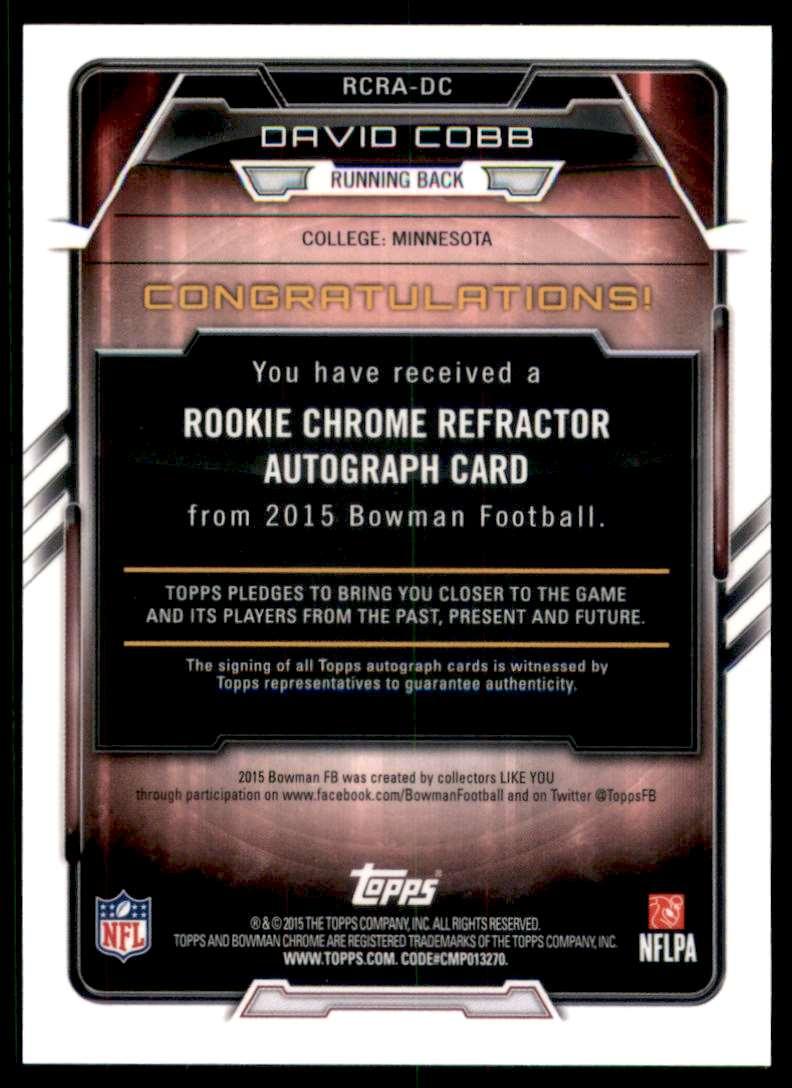 2015 Bowman Chrome Rookie Autographs Refractors David Cobb #RCRADC card back image