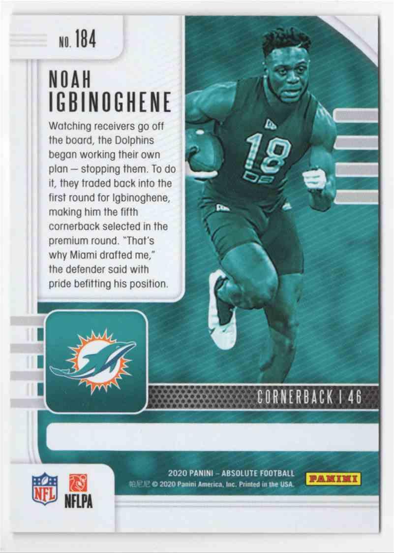 2020 Absolute Green Waves Noah Igbinoghene #184 card back image