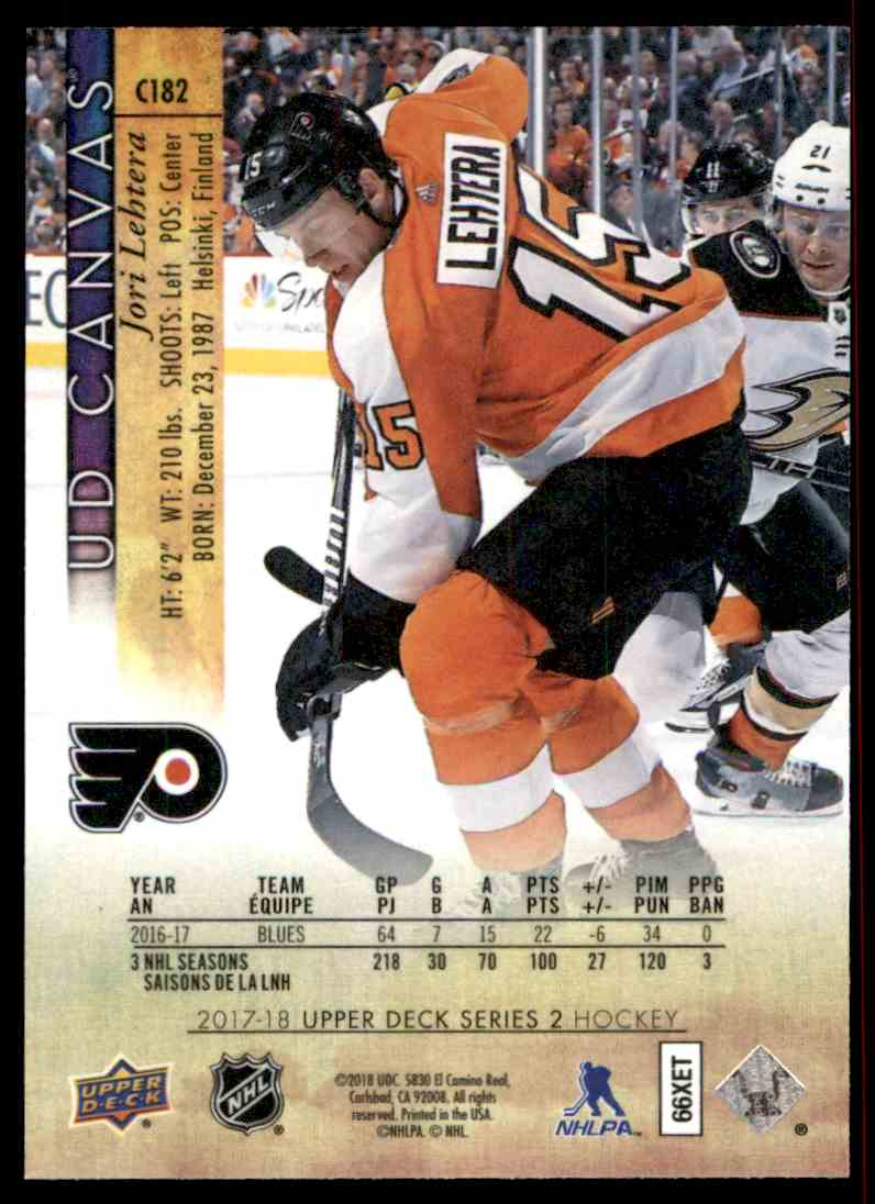 2017-18 Upper Deck Canvas Jori Lehtera #C182 card back image