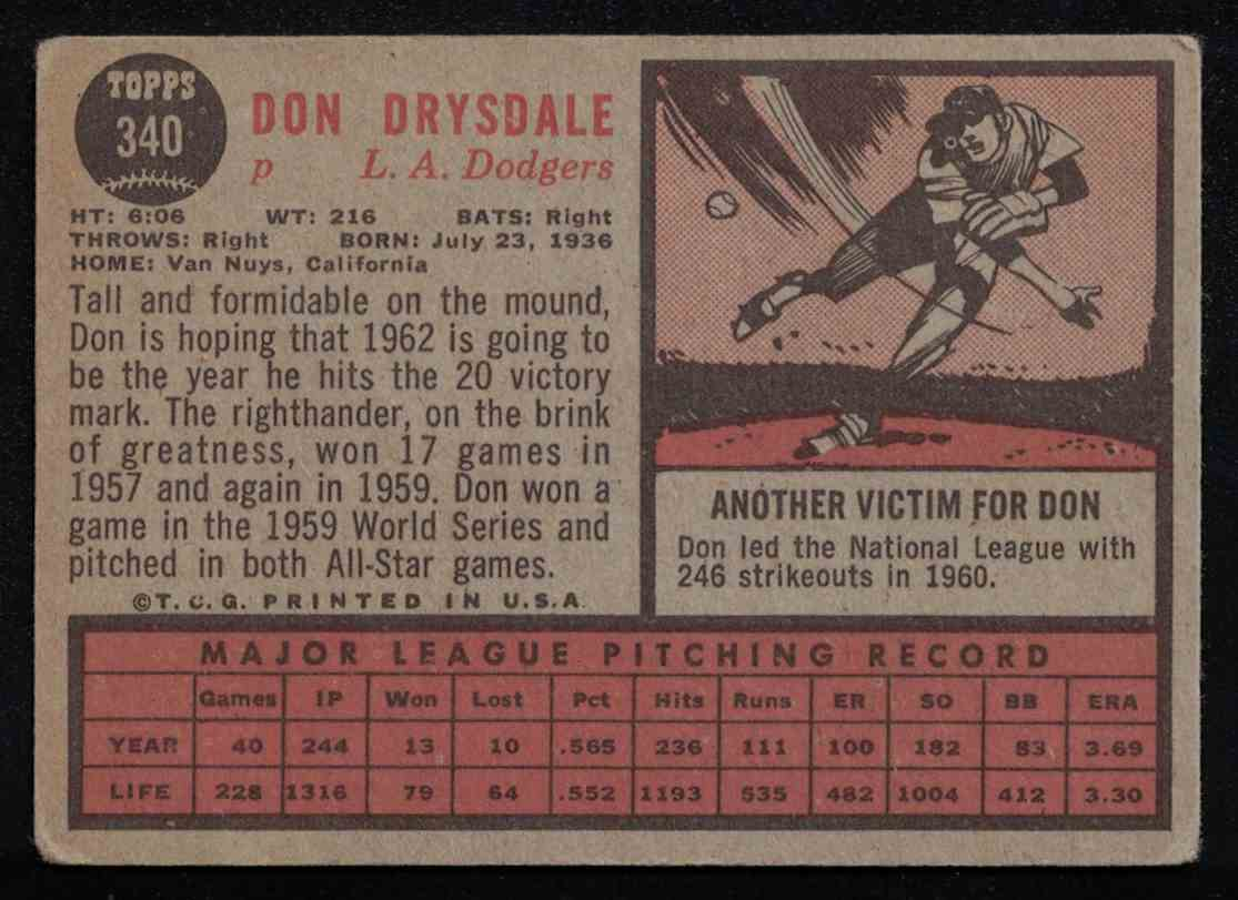 1962 Topps Don Drysdale VG crease #340 card back image