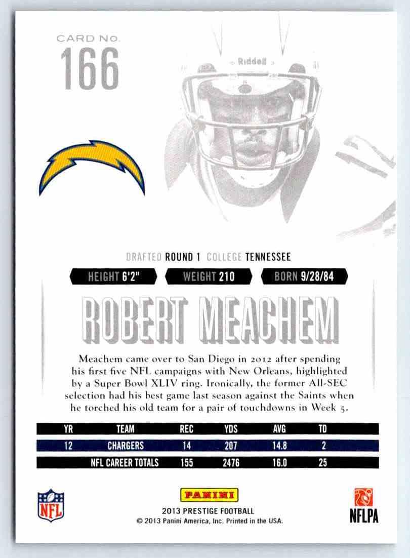 2013 Prestige Robert Meachem #166 card back image