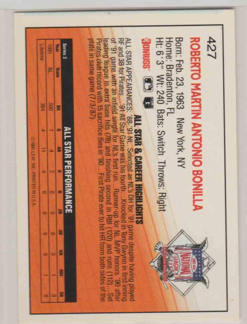 1992 Donruss Bobby Bonilla #427 card back image