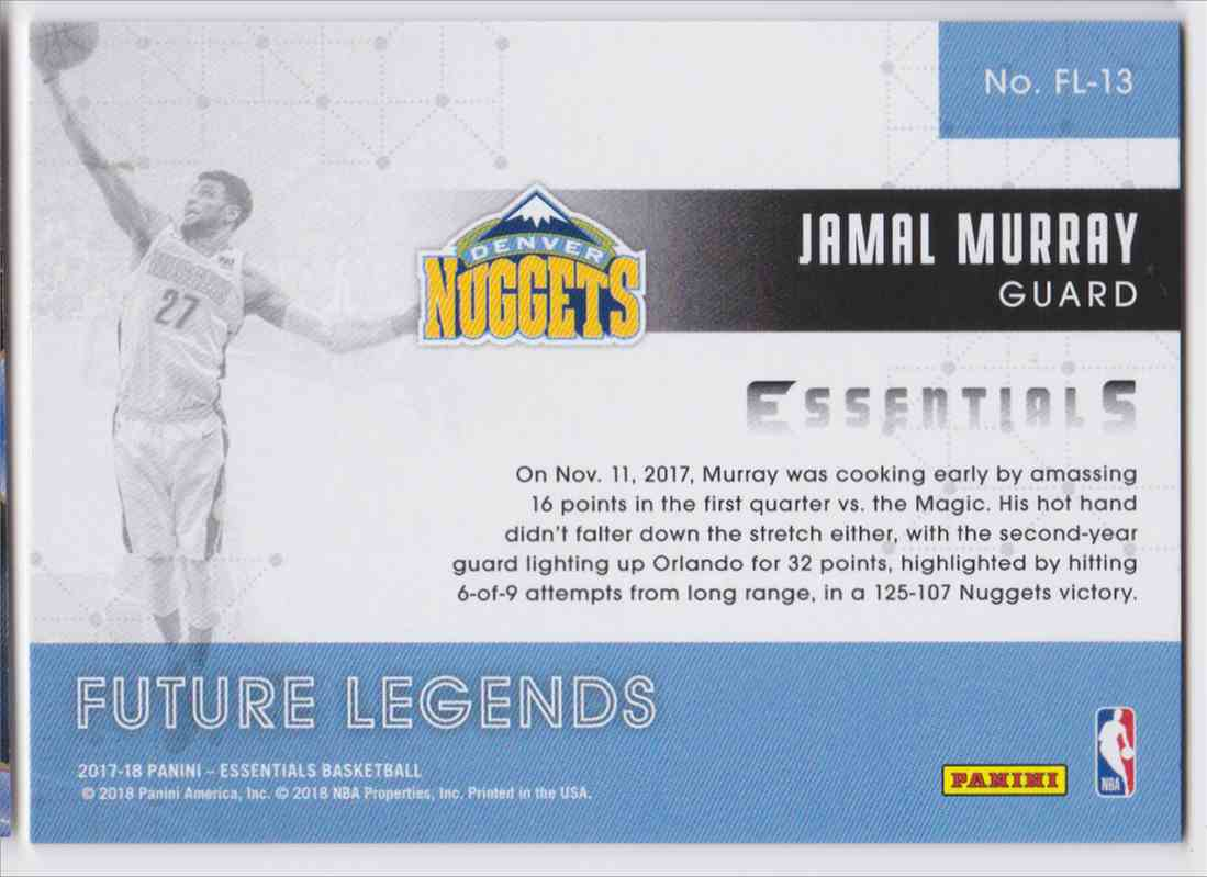 2017-18 Panini Essentials Future Legends Jamal Murray #FL-13 card back image