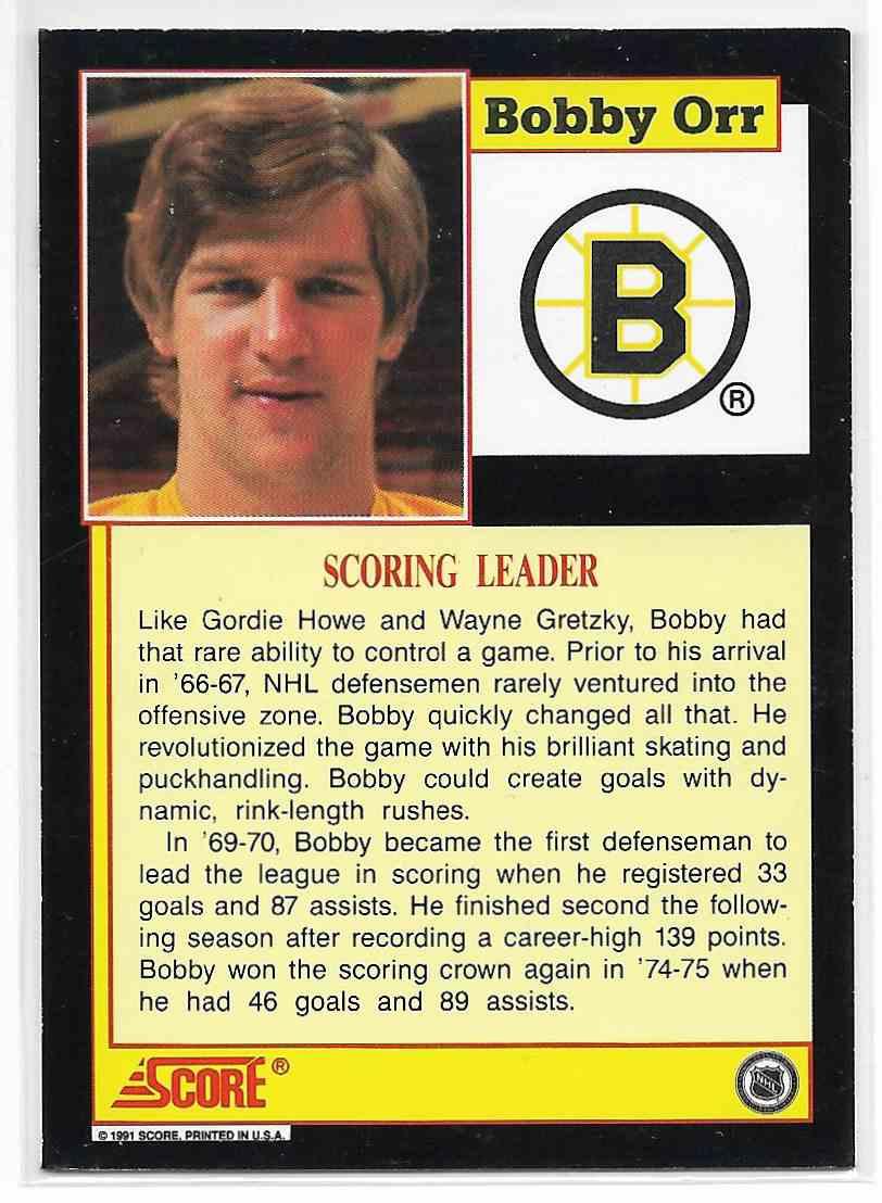 1991-92 Score Bobby Orr #NNO card back image