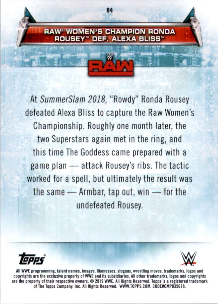 2019 Topps Wwe Women's Division Raw Women's Champion Ronda Rousey Def. Alexa Bliss #84 card back image