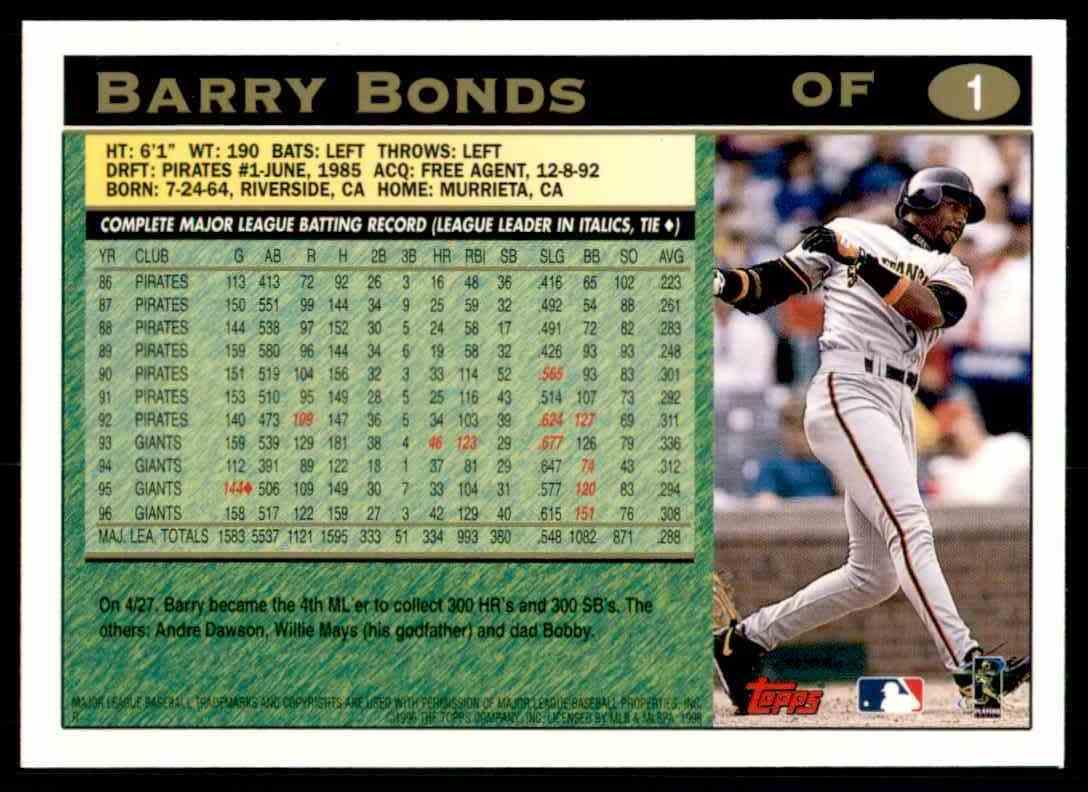 1997 Topps Barry Bonds #1 card back image