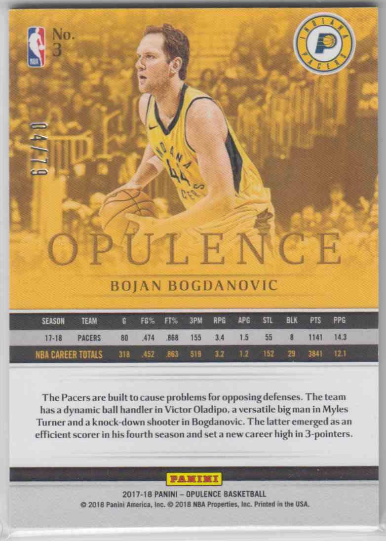 2017-18 Panini Opulence Base Bojan Bogdanovic #3 card back image