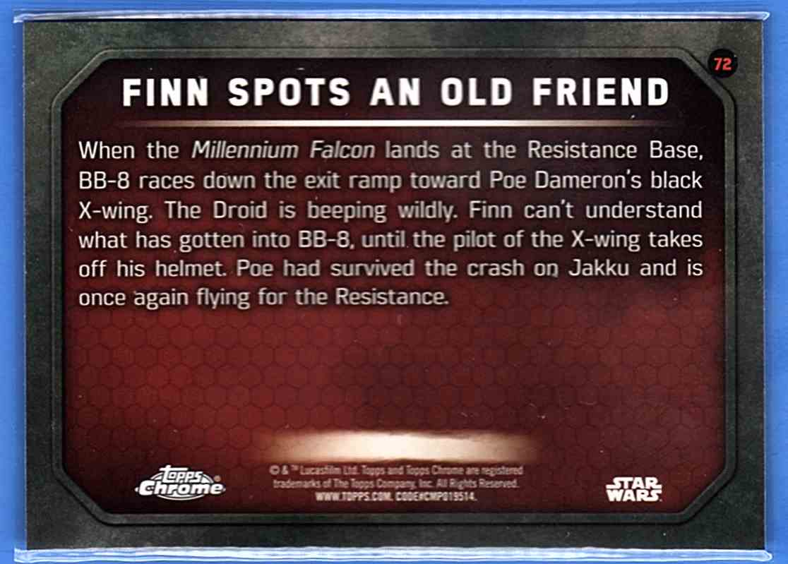 2016 Star Wars The Force Awakens Chrome Finn Spots An Old Friend #72 card back image