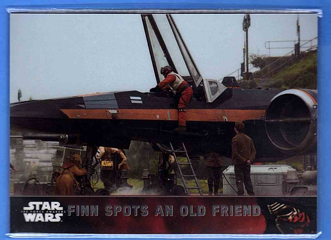 2016 Star Wars The Force Awakens Chrome Finn Spots An Old Friend #72 card front image