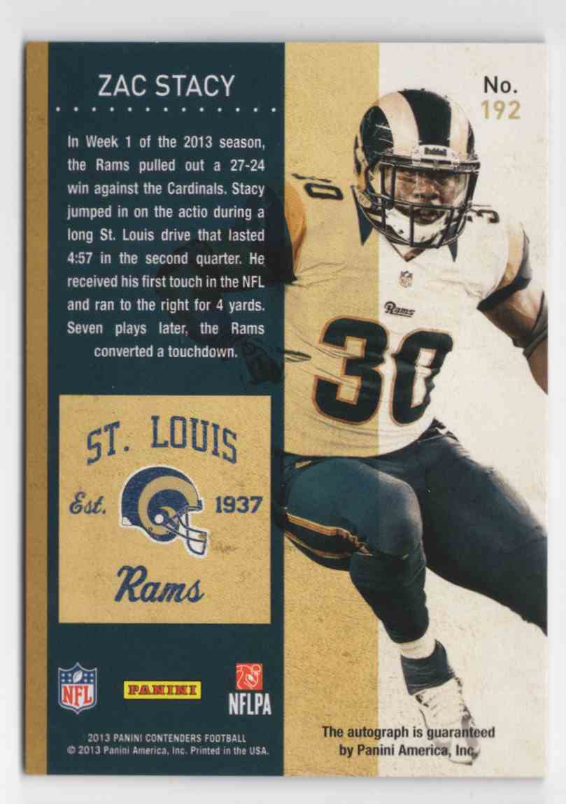 2013 Panini Contenders Cracked Ice Zac Stacy #192A card back image