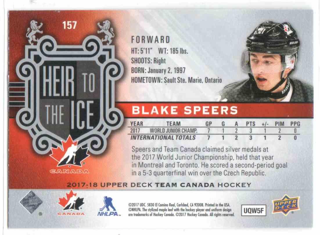 2017-18 Upper Deck Team Canada Canadian Tire Blake Speers #157 card back image