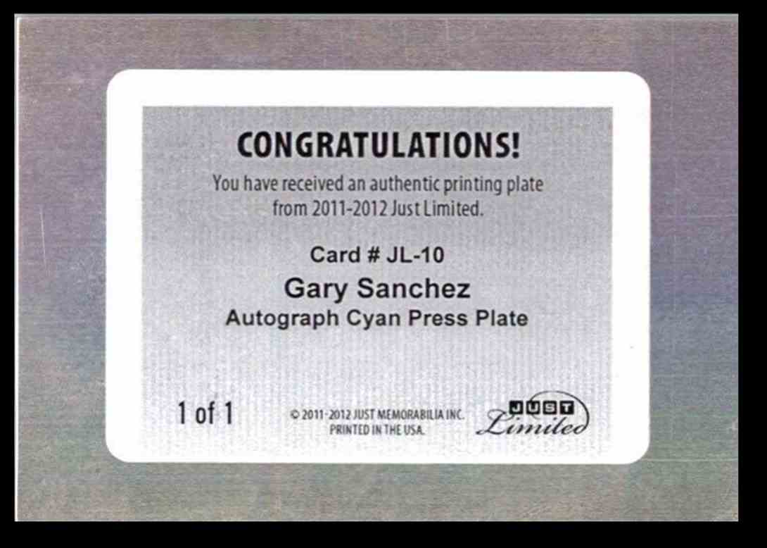 2011 Just Limited Gary Sanchez card back image