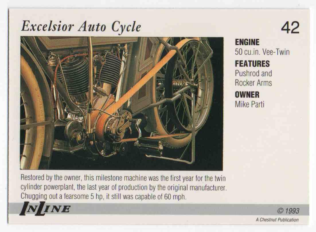 1993 InLine 1911 Excelsior #42 card back image