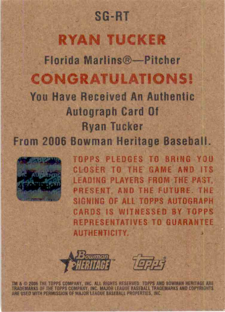 2006 Bowman Heritage Signs Of Greatness Ryan Tucker #SGRT card back image