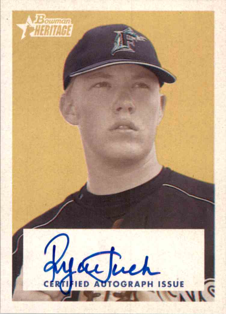 2006 Bowman Heritage Signs Of Greatness Ryan Tucker #SGRT card front image