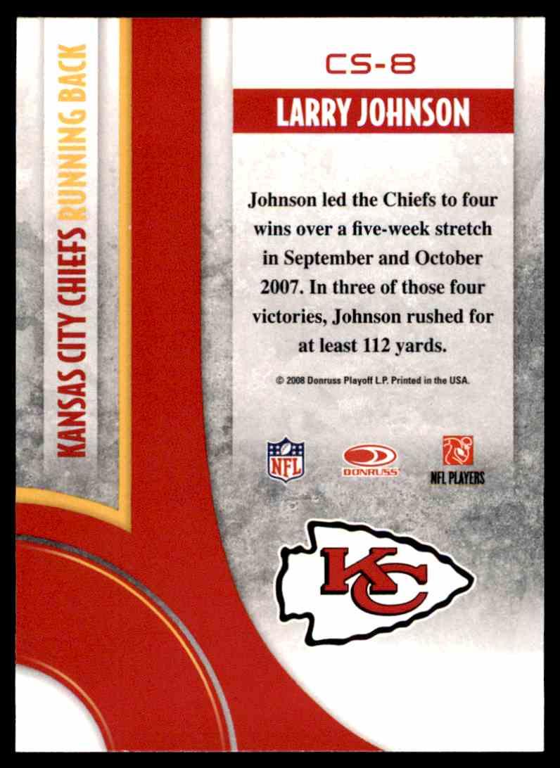 2008 Donruss Threads Century Stars Larry Johnson #CS-8 card back image