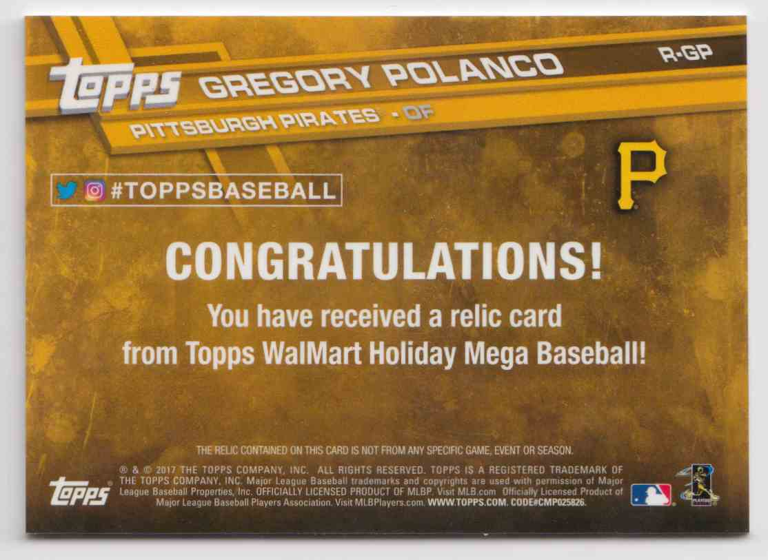 2017 Topps Holiday Relics Gregory Polanco #R-GP card back image
