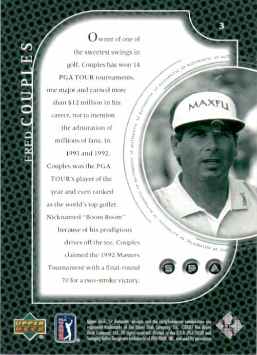 2001 SP Authentic Preview Fred Couples #3 card back image