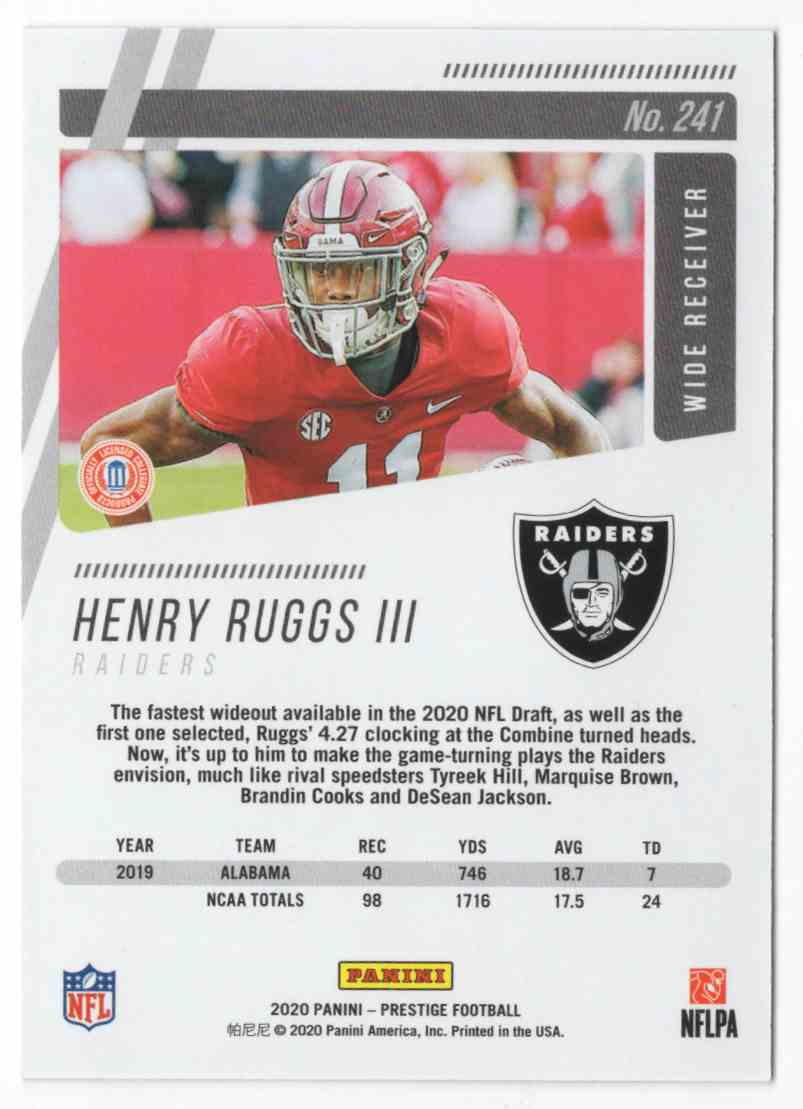 2020 Prestige Xtra Points Red Henry Ruggs III #241 card back image