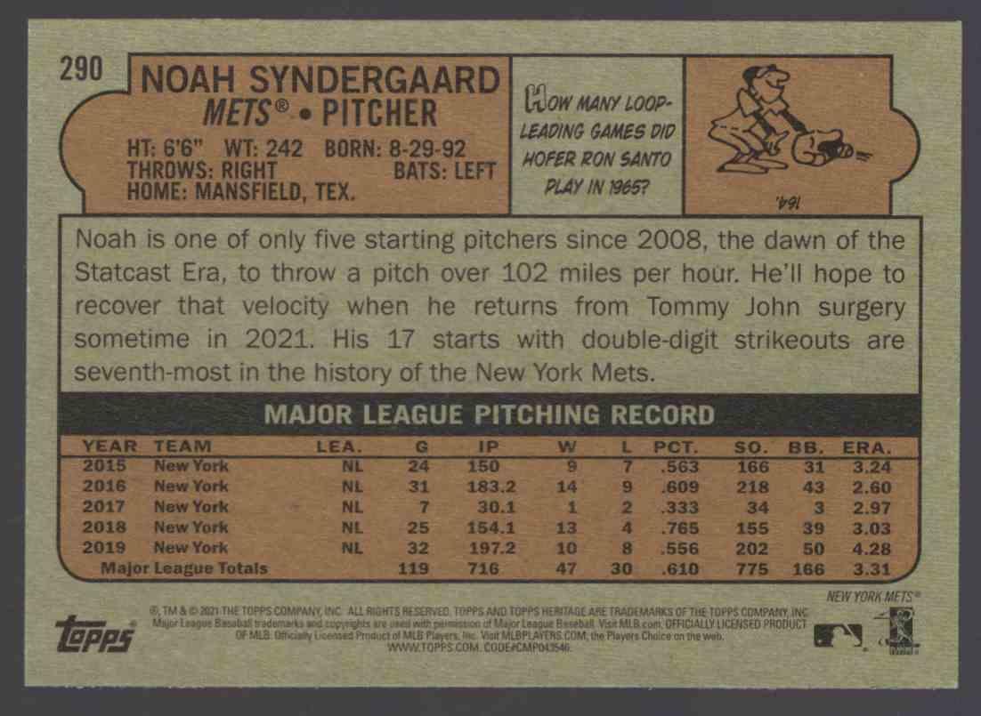 2021 Topps Heritage Noah Syndergaard #290 card back image