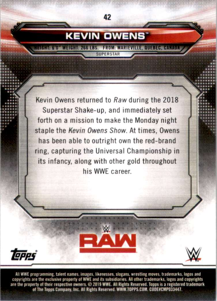 2019 Topps Wwe Raw Kevin Owens #42 card back image