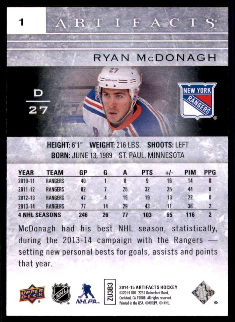 2014-15 Artifacts Ryan McDonagh #1 card back image