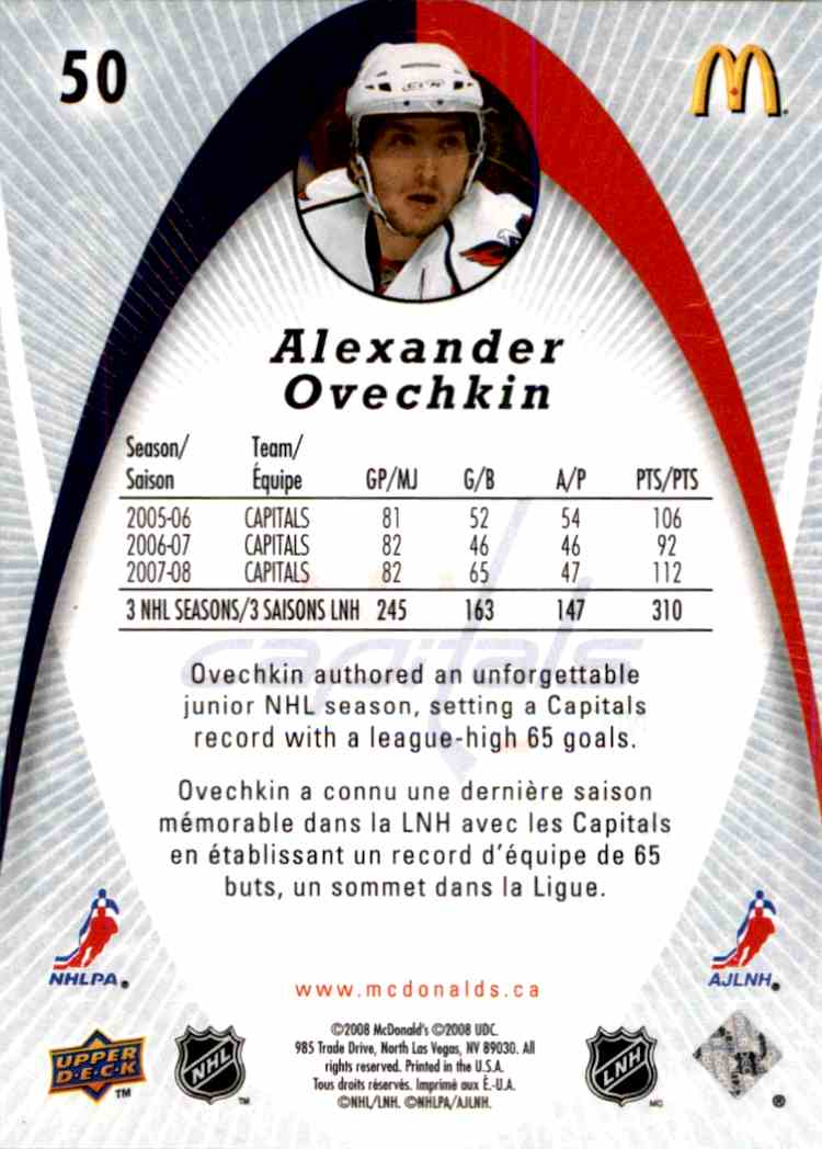 2008-09 Upper Deck McDonald's Alexander Ovechkin #50 card back image