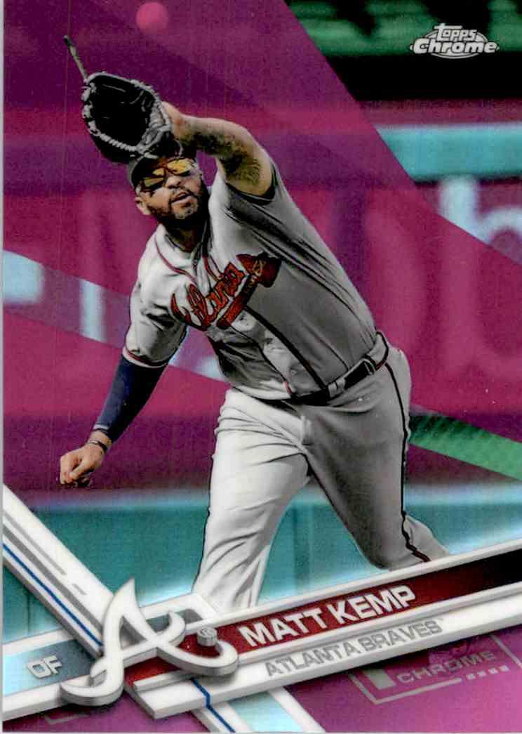 2017 Topps Chrome Pink Refractor Matt Kemp #127 card front image