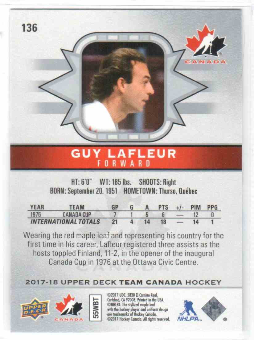 2017-18 Upper Deck Team Canada Canadian Tire Guy Lafleur #136 card back image