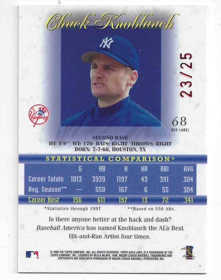 1998 Topps Gold Label Red Chuck Knoblauch #68 card back image