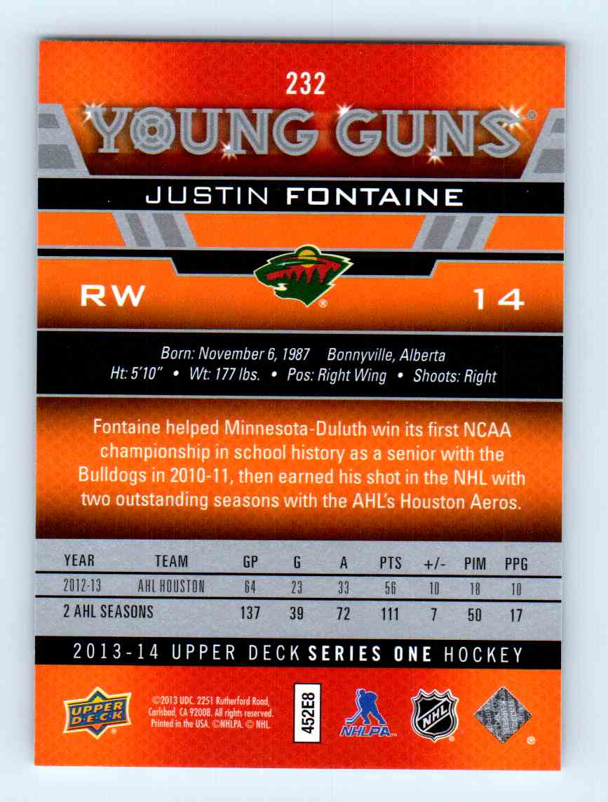 2013-14 Upper Deck Young Guns Justin Fontaine #232 card back image