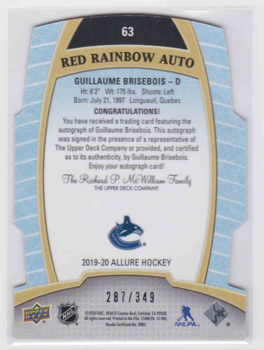 2019-20 Upper Deck Hockey Allure Guillaume Brisebois - Red Rainbow Auto #63 card back image
