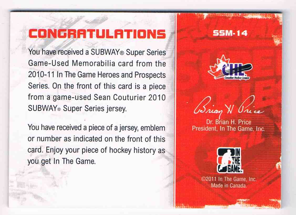 2010-11 ITG Heroes And Prospects Subway Series Emblems Black Subway Series Emblems Black Sean Couturier #SSM14 card back image
