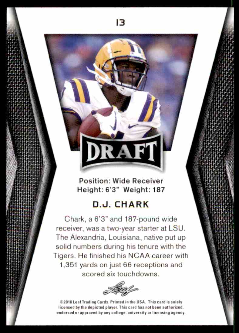 2018 Leaf Draft D.J. Chark #13 card back image