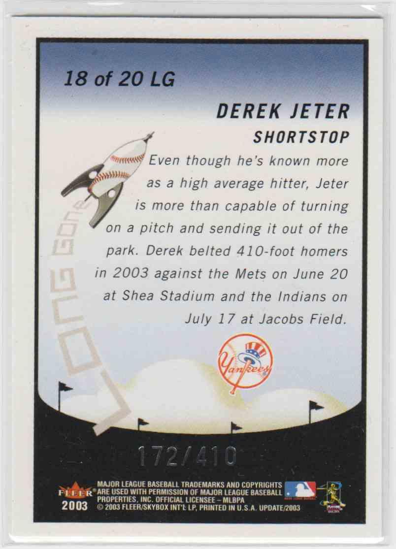 2003 Fleer Tradition Long Gone Derek Jeter #18 card back image
