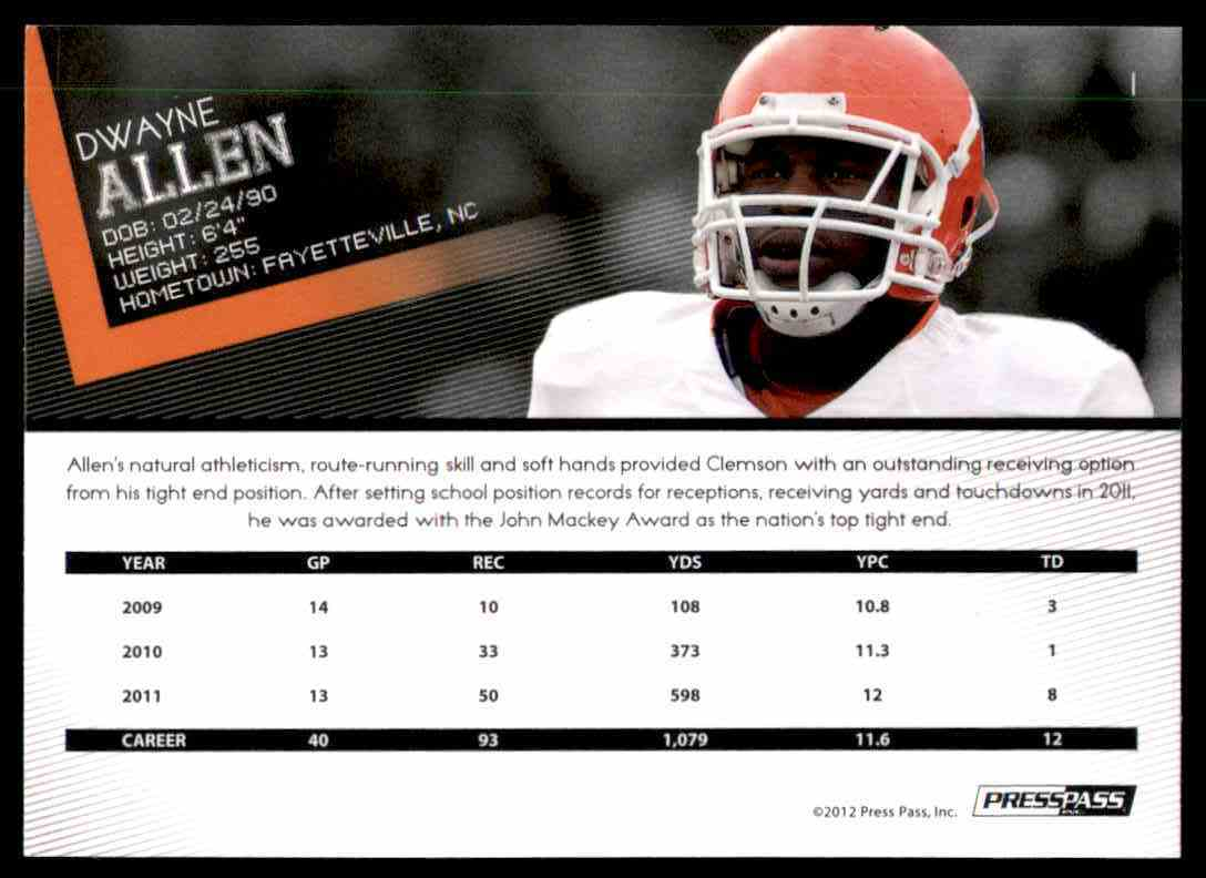 2012 Press Pass Dwayne Allen #1 card back image