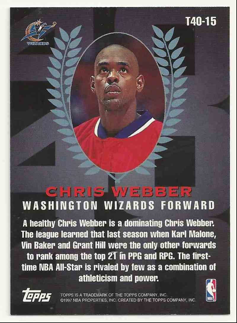 1997-98 Topps Topps 40 Chris Webber #15 card back image