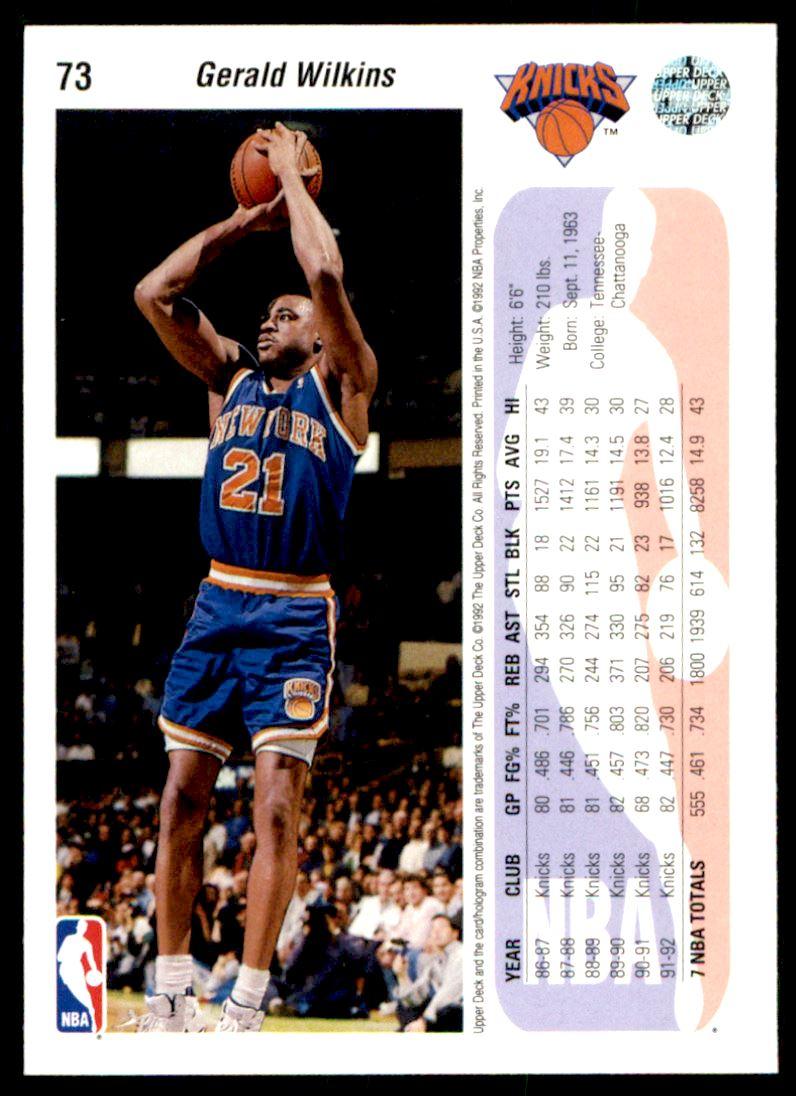 1992 93 Upper Deck Gerald Wilkins 73 on Kronozio